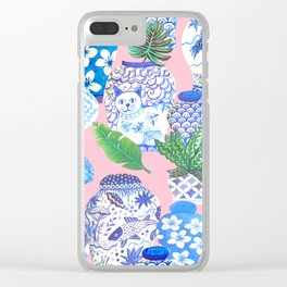 Chinoiserie Chic, Chinese ginger jars on pale pink Clear iPhone Case