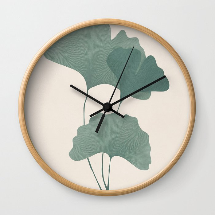 Ginko Leaves Wall Clock
