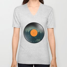 Vinyl Nature Camping Retro Phonograph Record Classic Music Lovers Gift Unisex V-Neck