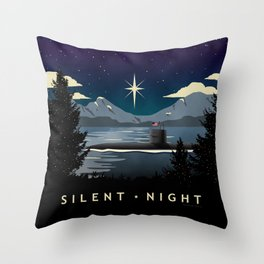 Silent Night - Submarine Christmas Throw Pillow