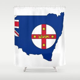 New South Wales Australia Map with NSW Flag Shower Curtain