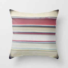Book stripes - red Throw Pillow
