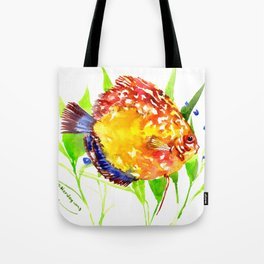 Discus in Aquarium. yellow red green fish illustration Tote Bag
