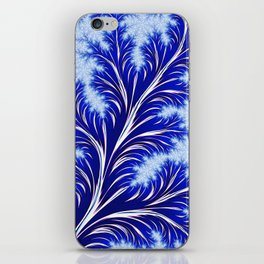 Abstract Blue Christmas Tree Branch with White Snowflakes iPhone Skin