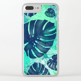 monstera leaves tropical 2 Clear iPhone Case