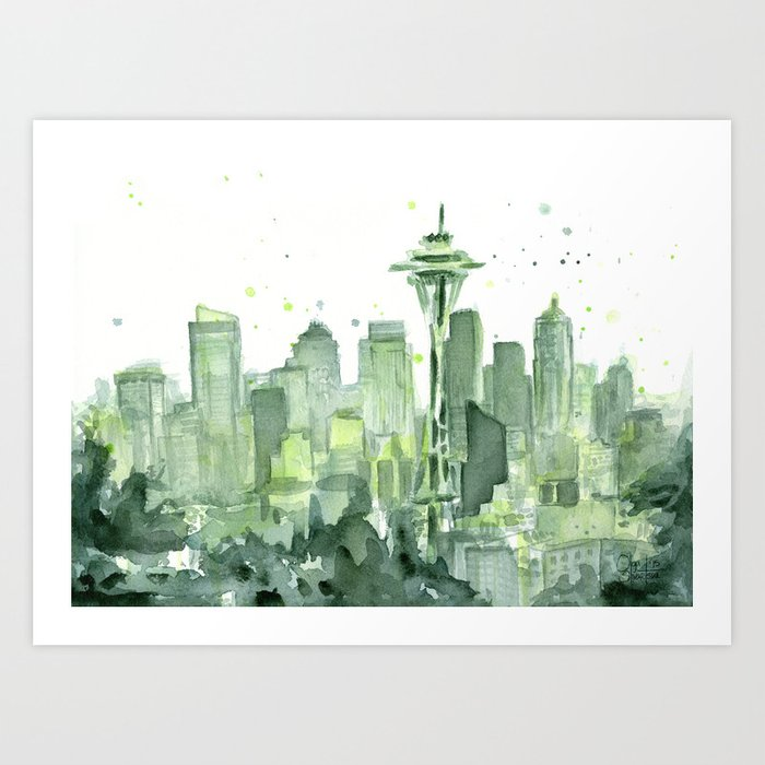 Seattle Watercolor Painting Art Print