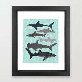 Sharks nature animal illustration texture print marine biologist sea life ocean Andrea Lauren Framed Art Print