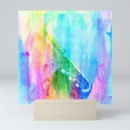 Sax Rainbow Mini Art Print
