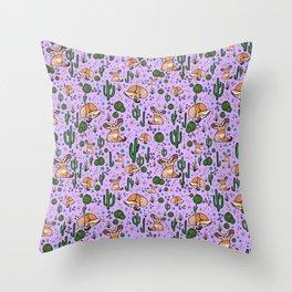 Cute Cactus and Fennec Fox Throw Pillow