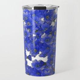 Little Blue Flowers on White Travel Mug