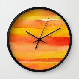 Watercolor Pattern Abstract Summer Sunrise Sky on Fire Wall Clock