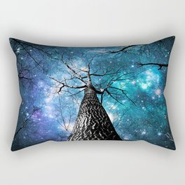 Wintry Trees Galaxy Skies Teal Blue Violet Rectangular Pillow