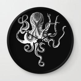 Vintage Octopus Black Wall Clock