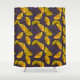 Ginkgo Leaf (Fall) - Plum Shower Curtain