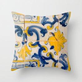 Portuguese azulejos, city of Ericeira Throw Pillow