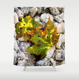 Leaves in Gray Shower Curtain