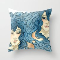 aqua Throw Pillows featuring Aqua by saravidigal