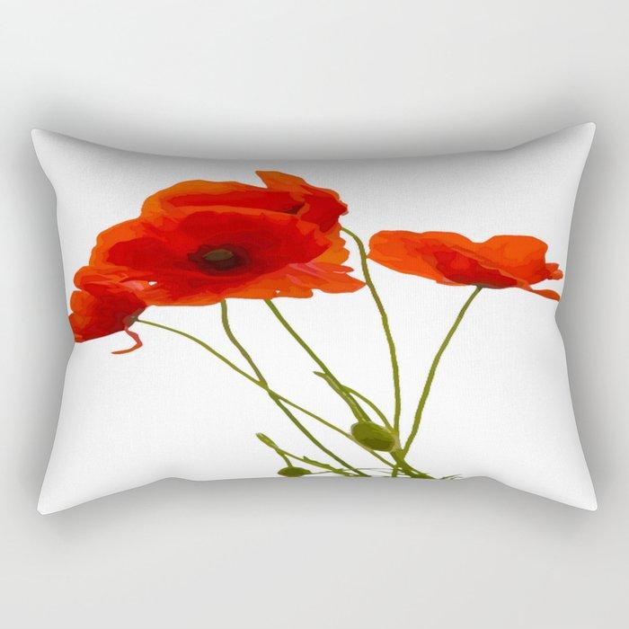 Delicate Red Poppies Vector Rectangular Pillow