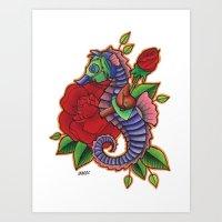 sea horse Art Prints featuring Sea Horse by Amanda Marie Bell