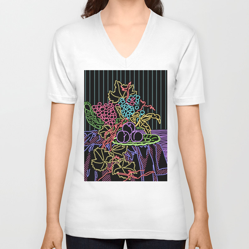 Still Life With Peach Neon Unisex V-neck by Jayfernandezart VNT8625710