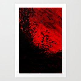 Red Birds, Red Night Art Print