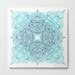 Teal Tangle Square Metal Print