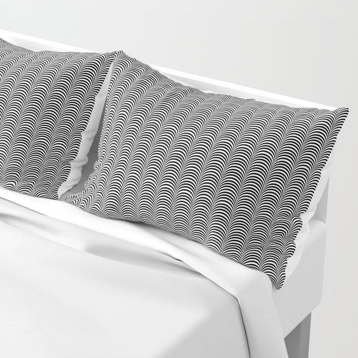 Black and White Scallop Line Pattern Digital Graphic Design Pillow Sham