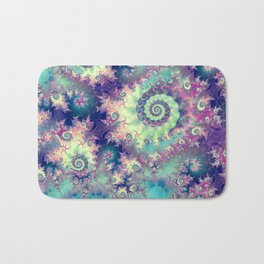 Violet Teal Sea Shells, Abstract Underwater Forest  Bath Mat