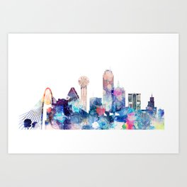 Dallas Texas Blue Skyline Art Print