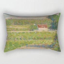 """Georges Seurat """"La Maison au toit rouge"""" Rectangular Pillow"""