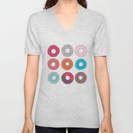 Colourful, illustrated, glazed, sprinkle Donut pattern Unisex V-Neck
