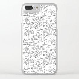 Funny sketchy white kitty cats Clear iPhone Case