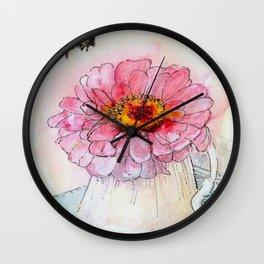 Botanical Flower Pink Zinnias in Pitcher Wall Clock