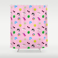 90s Shower Curtains featuring 90s Stuff Print by MagicCircle