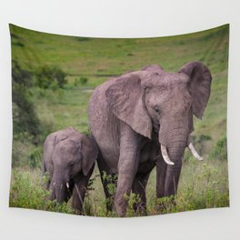 Mother and Calf African Elephant Wall Tapestry