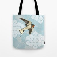 swallow Tote Bags featuring Swallow by Lorri Leigh Art