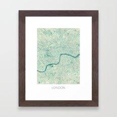 London Map Blue Vintage Framed Art Print