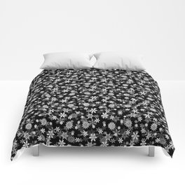 Festive Black and White Christmas Holiday Snowflakes Comforters