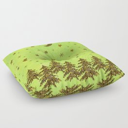 Sparkly Christmas tree, stars on abstract green paper Floor Pillow