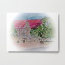 Rathaus der Stadt Bobingen Aquarell Metal Print