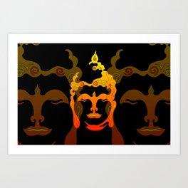 Illustration Buddha Head orange black design Art Print