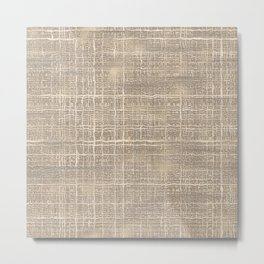 Elegant Chic Beige Brown Jute Burlap Textile Pattern Metal Print