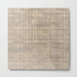 Beige Taupe Brown Jute Burlap Textile Pattern Metal Print