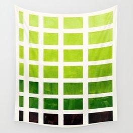 Gouache Watercolor Sap Green Geometric Square Matrix Stencil Pattern Wall Tapestry