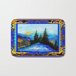 Richly Colored Mountain Trees Landscape in Blue & Gold Pattern Frame Bath Mat