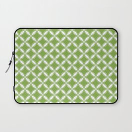 Greenery Green and White Geometric Circles Laptop Sleeve