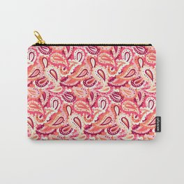 Coral pink paisley pattern Carry-All Pouch
