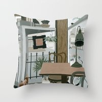 cafe Throw Pillows featuring View from the Cafe by Yuliya