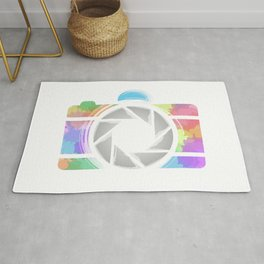 Watercolor Photography camera- Rainbow colored photography lover Rug