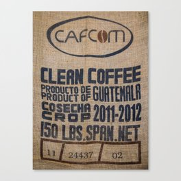 Guatemala - Burlap Coffee Bag Canvas Print